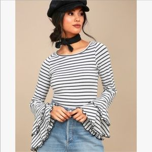 Free People Good Find Striped Ruffle Sleeve Top